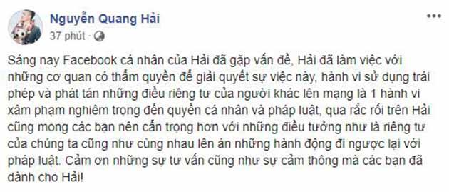 """Hé lộ danh tính """"người anh"""" của Quang Hải trong tin nhắn bị hack"""