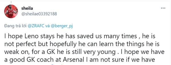 Phản ứng của CĐV Arsenal khi Bernd Leno tuyên bố ở lại