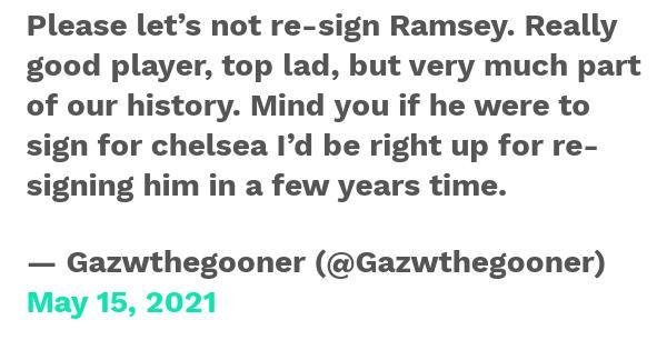 CĐV Arsenal nói thẳng quan điểm về việc tái hợp với Aaron Ramsey