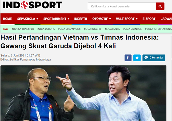 """Truyền thông Indo: """"Garuda bạc nhược, ĐT Việt Nam quá đẳng cấp"""""""
