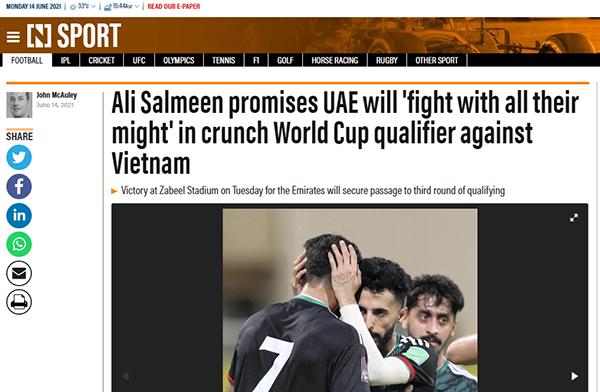 Truyền thông UAE lo lắng, phơi bày điểm yếu đội nhà trước trận Việt Nam