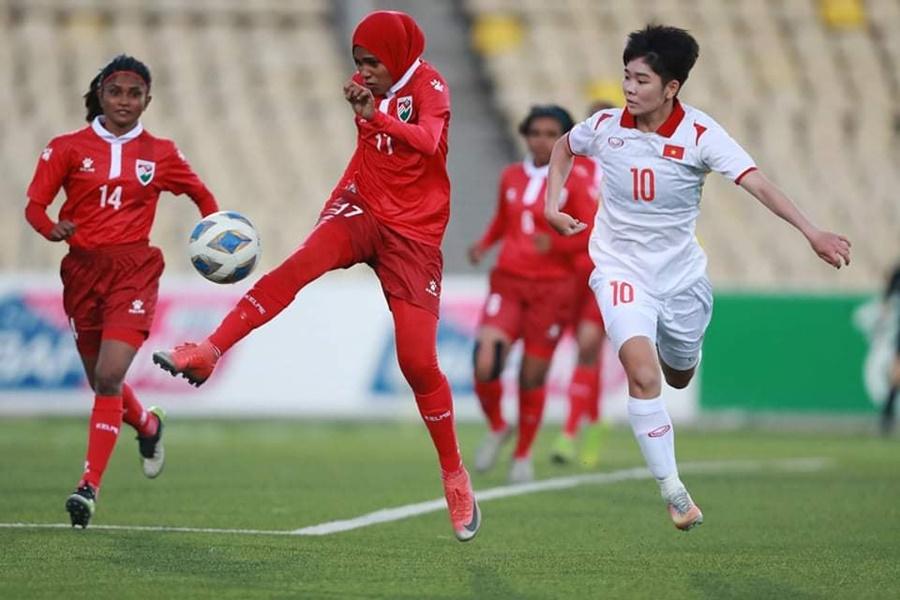 """Kết quả nữ Việt Nam 16-0 Maldives: Dội """"cơn mưa"""" bàn thắng"""